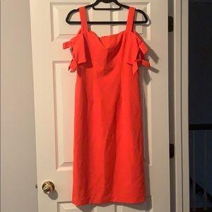 Bright Coral Cold Shoulder Shift Dress